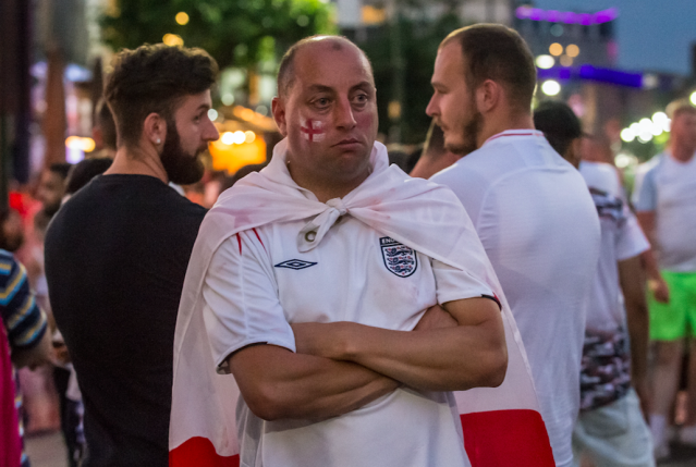 <p>A downbeat fan in Birmingham has an air of slight defiance at the result – and the Euros are next… (SWNS) </p>