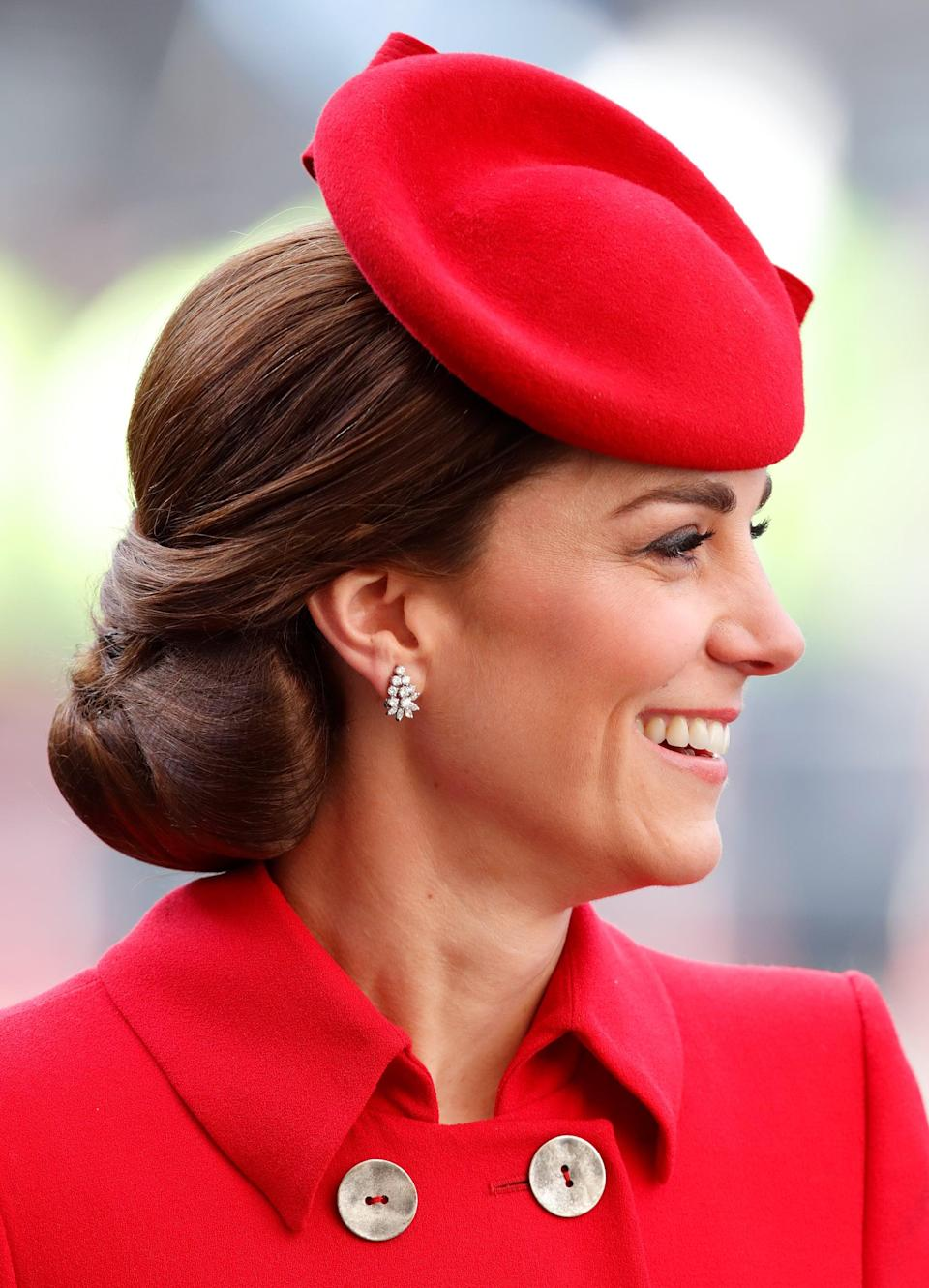 <p>We don't really know what to call this hairstyle (a chignon? an updo? a hair sculpture?), but what we <em>do</em> know is that the low, tucked-up style is a go-to for the Duchess of Cambridge's many royal engagements. </p>