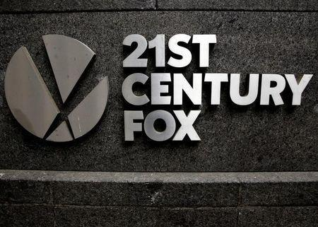 FILE PHOTO: The 21st Century Fox logo is seen outside the News Corporation headquarters in Manhattan, New York, U.S. on April 29, 2016. REUTERS/Brendan McDermid/File Photo