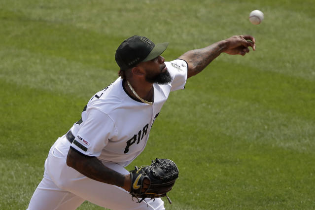 Pittsburgh Pirates relief pitcher Felipe Vazquez delivers in the ninth inning of a baseball game against the St. Louis Cardinals in Pittsburgh, Thursday, July 25, 2019. The Cardinals won 6-3. (AP Photo/Gene J. Puskar)