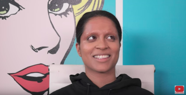 Using an Elmer's glue stick, Johnson gave the illusion of no eyebrows on Singh. (Photo: YouTube/Kandee Johnson)