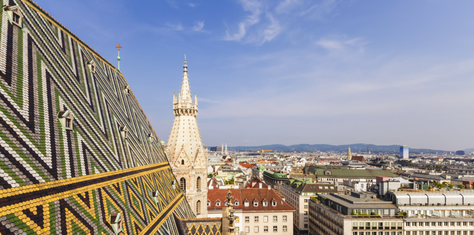 <p>Austria secured the fourth spot, with this photo showing the traditional skyline of capital Vienna (Picture:REX) </p>