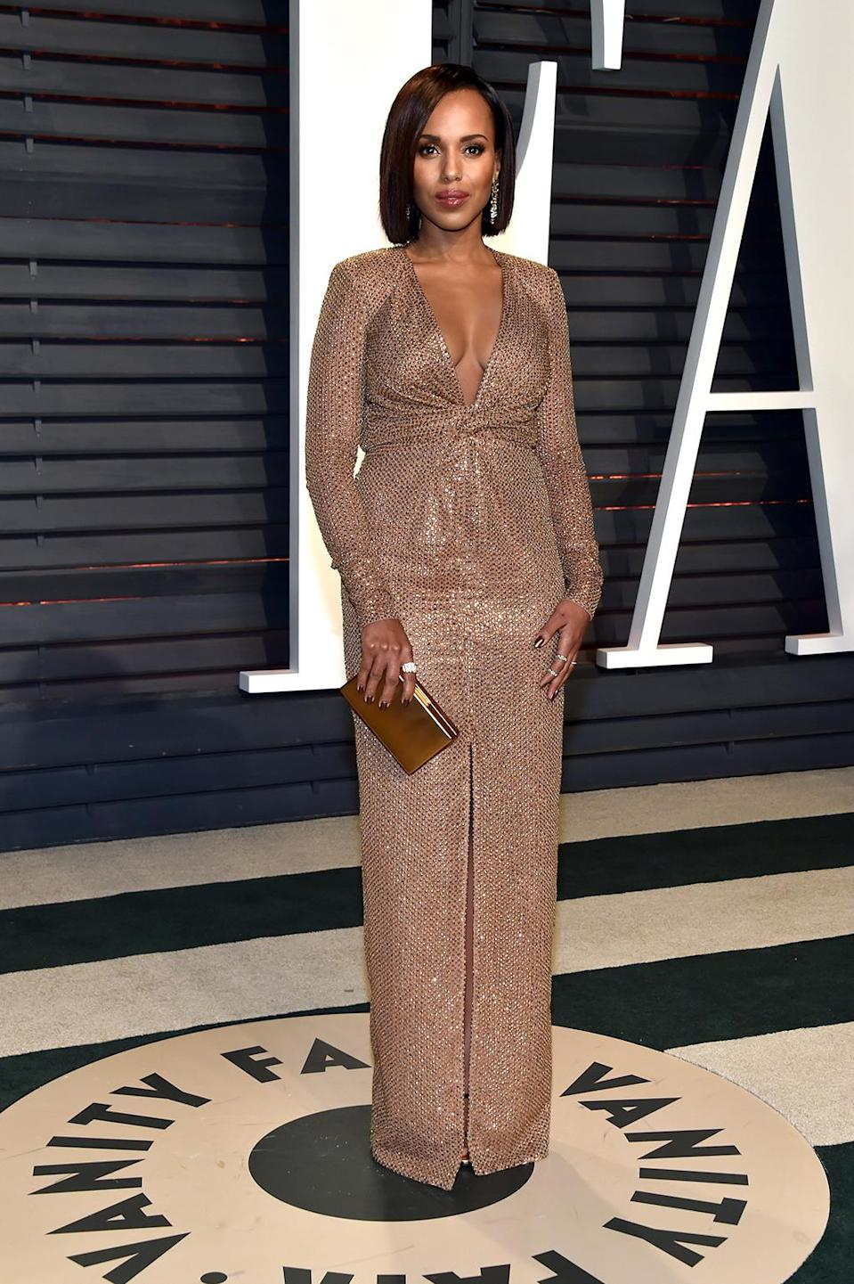 <p>Kerry Washington attends the 2017 Vanity Fair Oscar Party hosted by Graydon Carter at Wallis Annenberg Center for the Performing Arts on February 26, 2017 in Beverly Hills, California. (Photo by Pascal Le Segretain/Getty Images) </p>