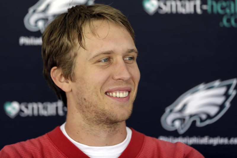 Philadelphia Eagles quarterback Nick Foles speaks at a news conference after practice at the NFL football team's training facility, Tuesday, Oct. 29, 2013, in Philadelphia. (AP Photo/Matt Rourke)