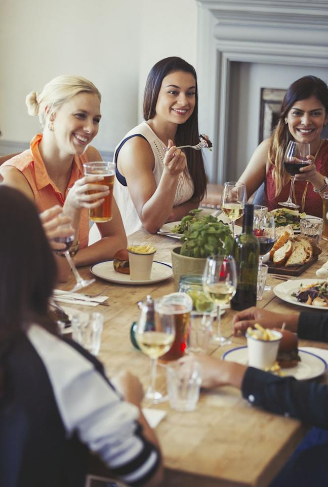 """<p>Hosting a <a rel=""""nofollow"""" href=""""https://www.womansday.com/food-recipes/food-drinks/g2176/hearty-healthy-recipes/"""">dinner party</a> is <em>much </em>easier when you have a group of friends all bringing dishes. To make sure there's enough food and drinks to go around, make the dinner BYOB and then designate who should bring what  -  think appetizers, side dishes, and (of course!) dessert. You get the honors of making the entree.</p>"""