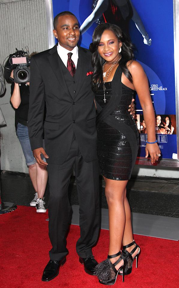 "HOLLYWOOD, CA - AUGUST 16: Bobbi Kristina Brown (R) and her guest attend the Premiere Of Tri-Star Pictures' ""Sparkle"" at Grauman's Chinese Theatre on August 16, 2012 in Hollywood, California.  (Photo by Frederick M. Brown/Getty Images)"