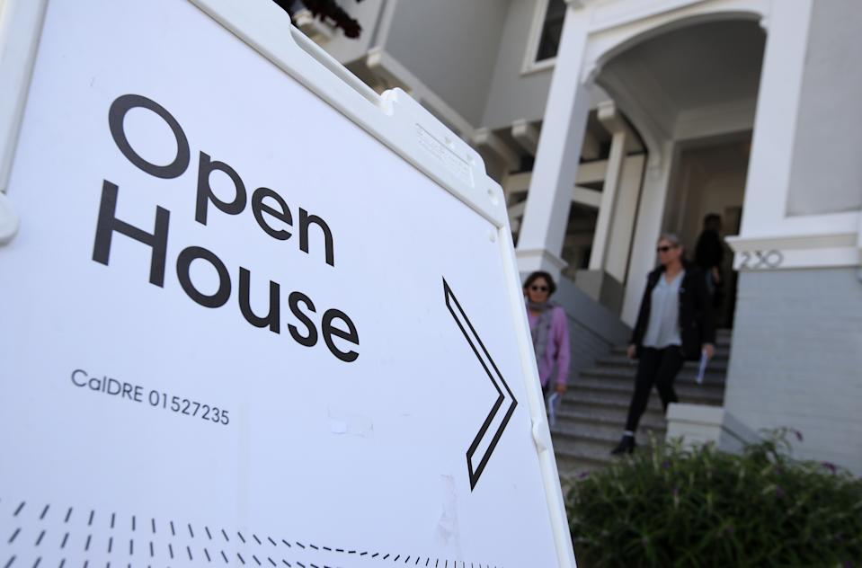 SAN FRANCISCO, CALIFORNIA - APRIL 16: Real estate agents leave a home for sale during a broker open house on April 16, 2019 in San Francisco, California. In the wake of several tech company IPOs, San Francisco is bracing for its already expensive real estate market to get even more expensive.  Workers for companies that are debuting on the stock market could become millionaires overnight and look to spend their new wealth on property. (Photo by Justin Sullivan/Getty Images)
