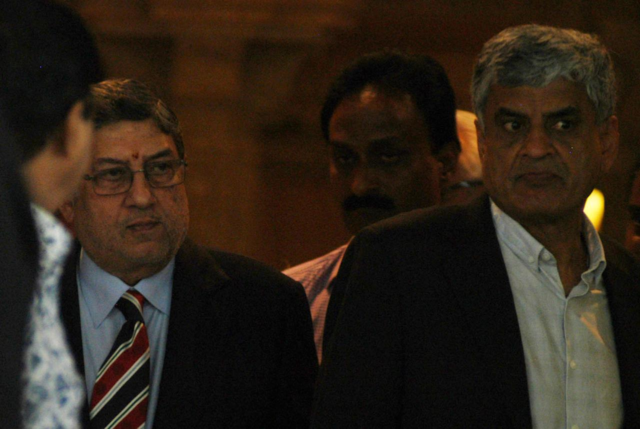 N Srinivasan after BCCI Special General Meeting in Chennai on Sept. 25, 2013. (Photo: IANS)