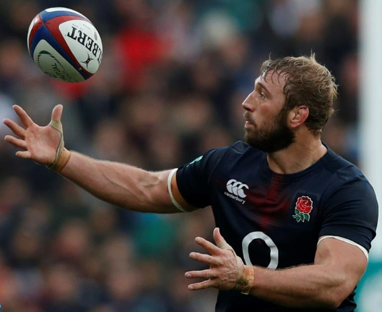 England's flanker Chris Robshaw collects a loose ball after it went wayward from a lineout during the international rugby union test match against Argentina November 26, 2016