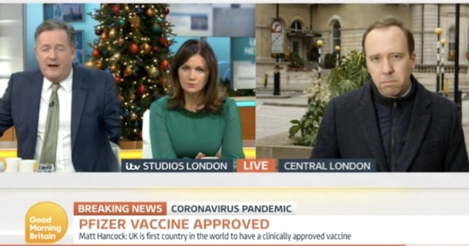 Piers Morgan doubled down on his promise to take the vaccine live on air. (ITV)