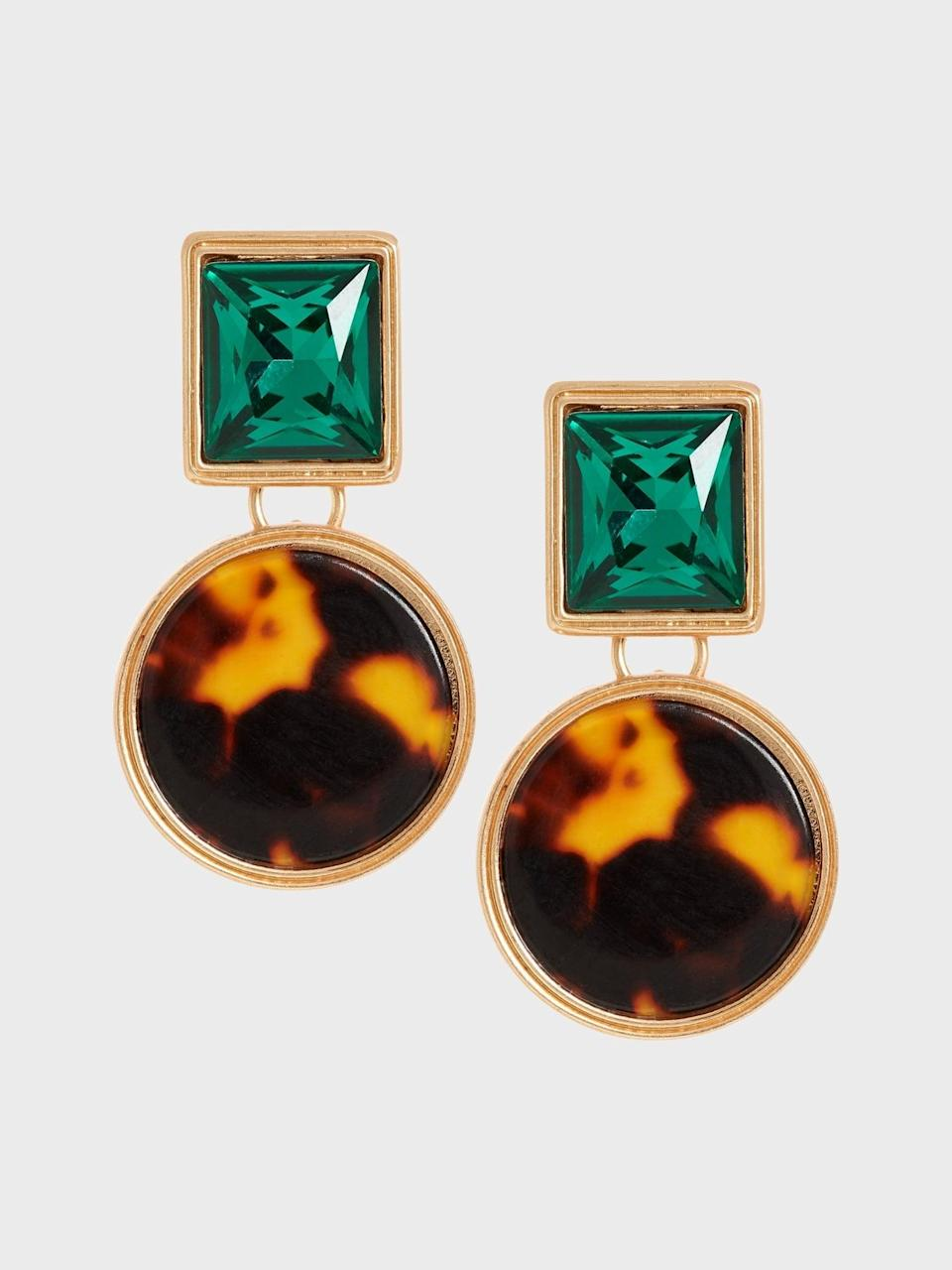 <p>The shapes and natural colors of these <span>Banana Republic Mixed Gem Double Drop Earrings</span> ($48) would look great with a bright red lip!</p>
