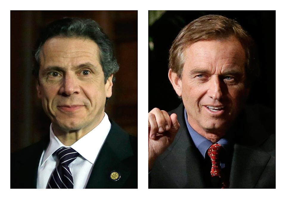 <p> These 2013 file photos show New York Gov. Andrew Cuomo, left, in Albany, N.Y. and Robert F. Kennedy Jr. in Dallas, Texas. People familiar with Cuomo's thinking on fracking tell The Associated Press he was on the brink of approving the much-debated gas drilling method in February 2013 but held off after discussions with environmentalist and former brother-in-law, Kennedy. (AP Photo/Tony Gutierrez) </p>