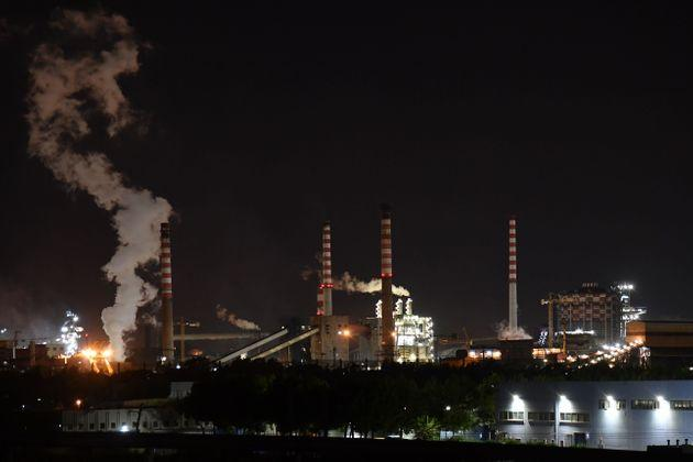 A general view taken late on November 7, 2019 shows the steel manufacturing giant Arcelor Mittal Italia (ex ILVA ) plant in Taranto, southern Italy. - The world steel giant ArcelorMittal announced on November 4, 2019 that it was cancelling the takeover of the Italian company Ilva, after the withdrawal of criminal environmental protection for the managers of the Taranto site, which is currently being cleaned up. (Photo by Andreas SOLARO / AFP) (Photo by ANDREAS SOLARO/AFP via Getty Images)