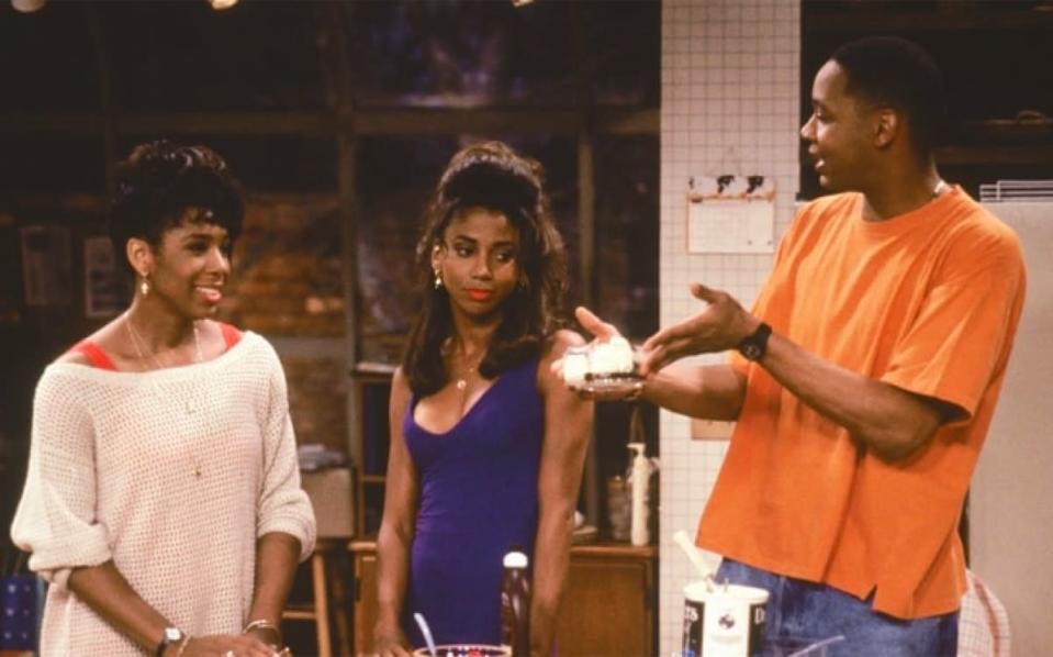 From one basketball show to another: <i>Hangin' With Mr. Cooper</i> (1992-1997) stars <strong>Mark Curry</strong> as Mark Cooper, a man who was very briefly in the NBA, but after being cut moves in with a childhood friend (<strong>Dawnn Lewis</strong>) and her roommate (<strong>Holly Robinson Peete</strong>), and becomes a high school P.E. teacher and basketball coach. <strong>Raven-</strong><strong>Symoné</strong> also starred as Mr. Cooper's adorable younger cousin.