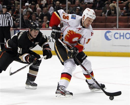 Calgary Flames center Olli Jokinen, right, controls the puck ahead of Anaheim Ducks defenseman Sheldon Brookbank in the first period of an NHL hockey game in Anaheim, Calif., on Monday, Feb. 6, 2012. (AP Photo/Christine Cotter)