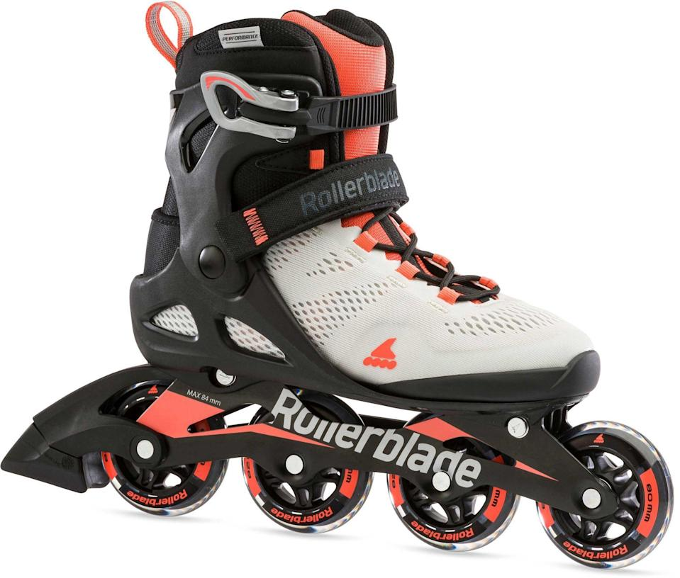 "<p><strong>Rollerblade</strong></p><p>dickssportinggoods.com</p><p><strong>$149.99</strong></p><p><a href=""https://go.redirectingat.com?id=74968X1596630&url=https%3A%2F%2Fwww.dickssportinggoods.com%2Fp%2Frollerblade-womens-macroblade-80-inline-skates-16rolwmcrbld80lwmils%2F16rolwmcrbld80lwmils&sref=https%3A%2F%2Fwww.womenshealthmag.com%2Ffitness%2Fg34574615%2Fbest-roller-blades%2F"" rel=""nofollow noopener"" target=""_blank"" data-ylk=""slk:Shop Now"" class=""link rapid-noclick-resp"">Shop Now</a></p><p>These rollerblades totally earn the MVP title. The aluminum frame is tough and sturdy, while the seamless maximizes comfort and support. The 80mm wheels and SG5 bearings err on the pro side without being overly techy or speed demon-y, making them ideal for workouts and easy striding. </p><p><strong>Rave review:</strong> ""Very Comfortable! I've been using these rollerblades since the day I received them about two weeks ago. The first two days they needed to be broken in, but following that they have been extremely comfortable. Would recommend!""<em> —@sardine7, dickssportinggoods.com</em></p>"
