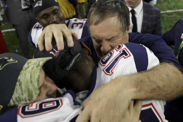 New England Patriots head coach Bill Belichick congratulates Malcolm Mitchell after defeating the Atlanta Falcons in overtime of Super Bowl LI. (AP Photo/Patrick Semansky)