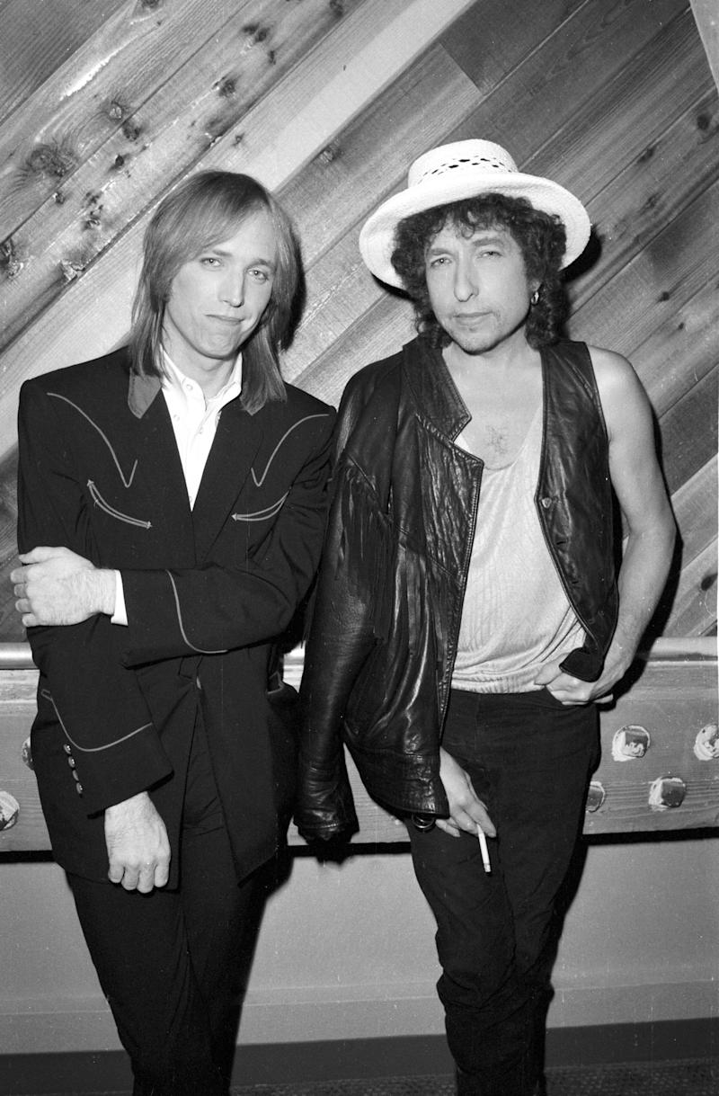 "Bob Dylan and Tom Petty pose for a portrait at Westwood One studios where they are promoting their ""True Confessions"" tour."
