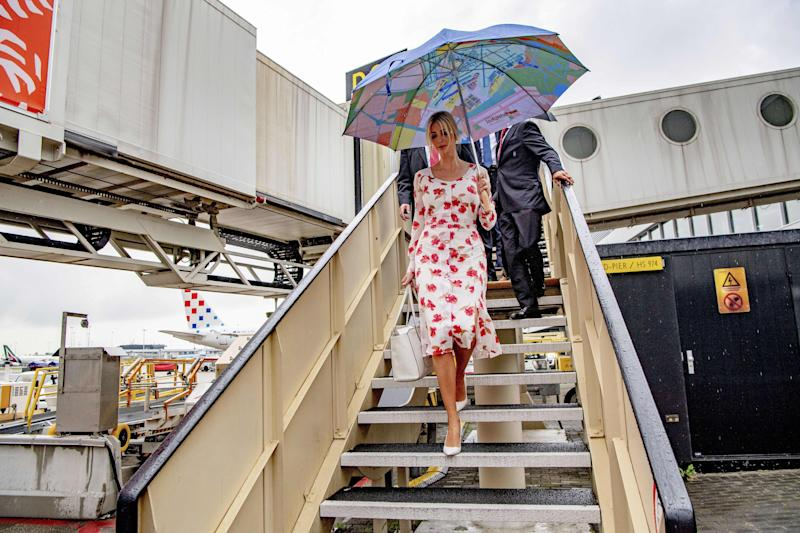 Senior Advisor to the U.S. President Ivanka Trump arrives with an umbrella at Schiphol for the Global Entrepreneurship Summit (GES) 2019 as she will speak in The Hague about women's rights during the closing of the event, on June 5, 2019. (Photo by Robin UTRECHT / ANP / AFP) / Netherlands OUT (Photo credit should read ROBIN UTRECHT/AFP/Getty Images)