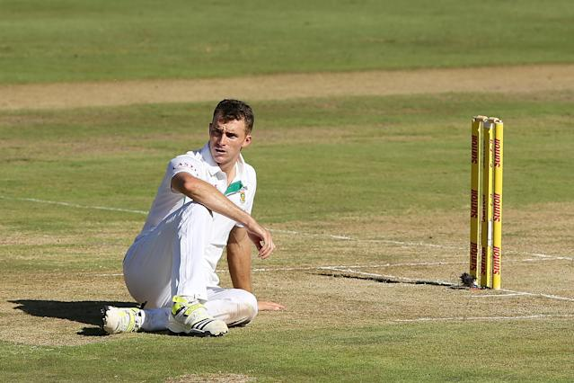CENTURION, SOUTH AFRICA - FEBRUARY 12: Ryan McLaren of South Africa reacts after missing an attempted run-out chance during day one of the First Test match between South Africa and Australia on February 12, 2014 in Centurion, South Africa. (Photo by Morne de Klerk/Getty Images)