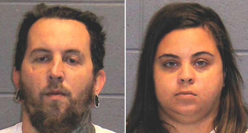 Pictured are mugshots of Kevin Grant (left) and Kaitlin Baptiste (right).