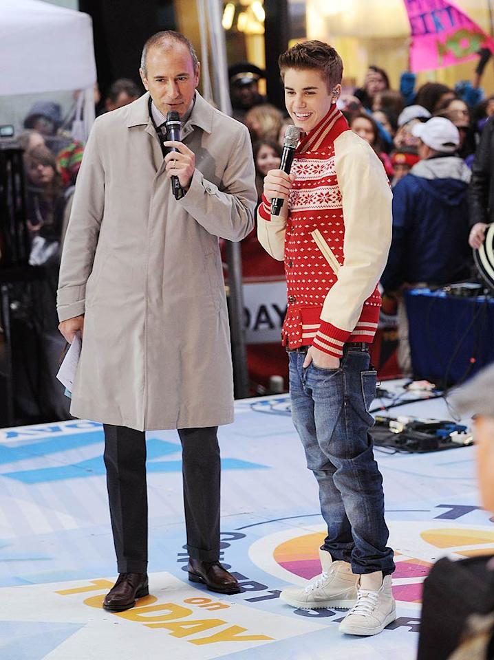 """Justin must really be in the Christmas spirit this year! Hours after his festive concert and chat with """"Today's"""" Matt Lauer, the 17-year-old tweeted that he was off to record another performance for this year's lighting of the Christmas tree in Rockefeller Center. Catch the finished TV special at 8 p.m. ET on November 30 on NBC. (11/23/2011)"""