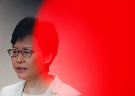 Hong Kong's Chief Executive Carrie Lam addresses a news conference in Hong Kong, China