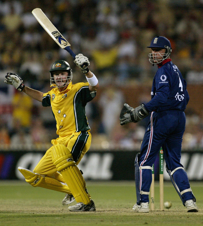 ADELAIDE - JANUARY 19:  Michael Clarke of Australia in action during the One Day International match between Australia and England at the Adelaide Oval in Adelaide, Australia on January 19, 2003. (Photo by Hamish Blair/Getty Images)