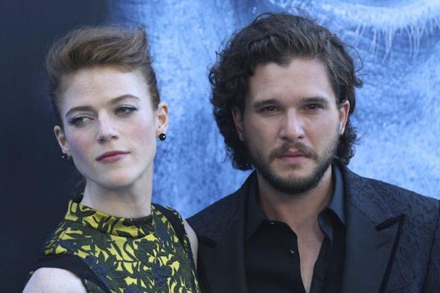 Kit Harington, right, and Rose Leslie arrive at the L.A. premiere of <em>Game of Thrones</em> at the Walt Disney Concert Hall on July 12, 2017. (Photo: Willy Sanjuan/Invision/AP)