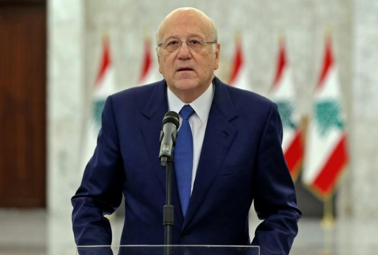 Prime Minister-designate Najib Mikati announcing the formation of a new Lebanese government after a meeting with the president (AFP/STRINGER)