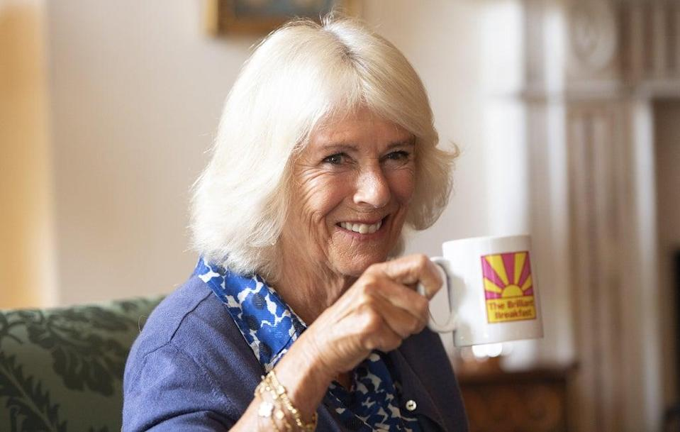 The Duchess of Cornwall takes a drink during a meeting with young women (Eddie Mulholland/Daily Telegraph) (PA Wire)
