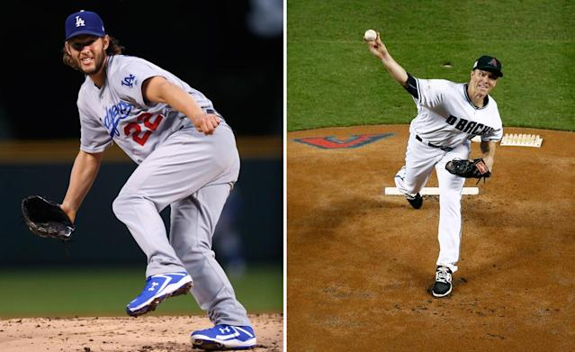 Former teammates Clayton Kershaw and Zack Greinke aren't likely to face each other in the NLDS, but both will be factors. (AP)