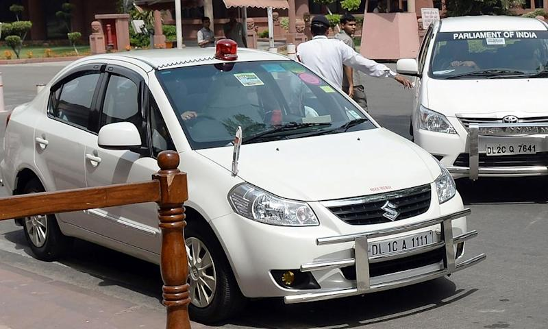 An Indian politician's car with a red beacon on it outside Parliament House in New Delhi.