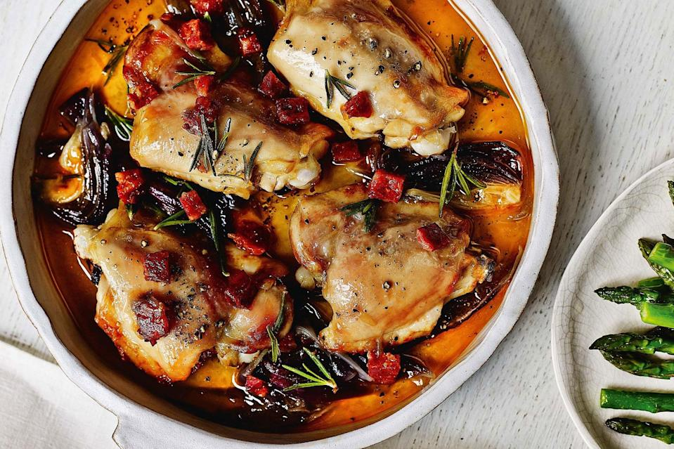 """Why not make life a little easier? This chicken recipe can be prepped in advance, and leftovers make great lunches. Chorizo and rosemary boost the flavor of skinless chicken thighs. <a href=""""https://www.epicurious.com/recipes/food/views/one-pot-chicken-and-chorizo?mbid=synd_yahoo_rss"""" rel=""""nofollow noopener"""" target=""""_blank"""" data-ylk=""""slk:See recipe."""" class=""""link rapid-noclick-resp"""">See recipe.</a>"""