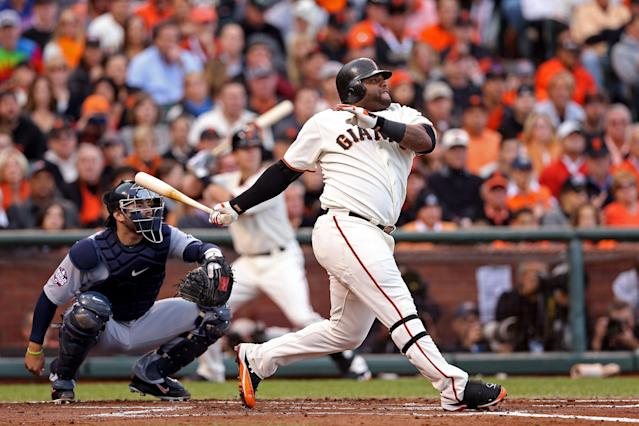 SAN FRANCISCO, CA - OCTOBER 24: Pablo Sandoval #48 of the San Francisco Giants hits a solo home run to center field against Justin Verlander #35 of the Detroit Tigers in first inning during Game One of the Major League Baseball World Series at AT&T Park on October 24, 2012 in San Francisco, California. (Photo by Christian Petersen/Getty Images)