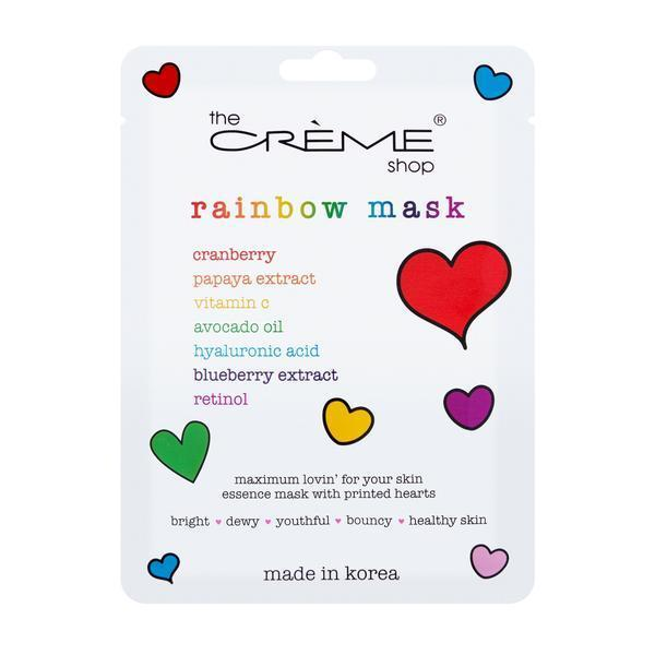 """<h2>The Crème Shop Rainbow Face Mask Printed with Rainbow Hearts</h2> <br>For skin that could use a little pick-me-up, snag these face masks soaked in vitamin C and papaya extract and decorated with multicolored hearts. The formula will soothe and brighten your skin, while the artwork makes for a cute selfie opp. The Crème Shop will also be donating 100% of proceeds from this mask to the <a href=""""https://lalgbtcenter.org/"""" rel=""""nofollow noopener"""" target=""""_blank"""" data-ylk=""""slk:Los Angeles LGBT Center"""" class=""""link rapid-noclick-resp"""">Los Angeles LGBT Center</a> — even more reason to stock up.<br><br><strong>The Creme Shop</strong> Rainbow Face Mask Printed with Rainbow Hearts, $, available at <a href=""""https://go.skimresources.com/?id=30283X879131&url=https%3A%2F%2Fwww.thecremeshop.com%2Fcollections%2Fnew-arrivals%2Fproducts%2Frainbow-face-mask"""" rel=""""nofollow noopener"""" target=""""_blank"""" data-ylk=""""slk:The Crème Shop"""" class=""""link rapid-noclick-resp"""">The Crème Shop</a><br>"""