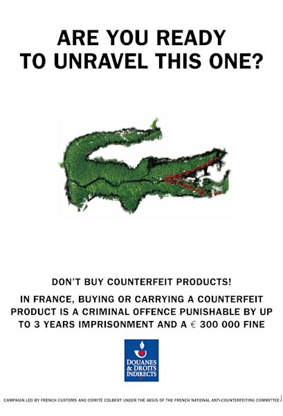 "This image made available by the anti-counterfeiting group, Comite Colbert, shows a poster edited by French Customs and distributed by the Comite Colbert in Paris Wednesday May 30, 2012, to fight against the sale of counterfeit goods in the world. An association of 75 French luxury brands has launched a campaign against knockoff designer products, warning people in seven European countries of the high costs of fake goods to the industry — and potentially to buyers and sellers. The anti-counterfeiting group, Comite Colbert, put up posters Wednesday in Paris featuring photos of fake phones, shades, watches and horse skin handbags next to printed warnings of potential high fines and even jail time. One reads: ""A bet on the wrong horse can be very expensive."" Another advises, ""Buy a fake Cartier, get a genuine criminal record."" (AP Photo, HO)"