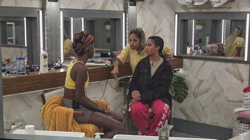 Following a live vote, a Houseguest is evicted and interviewed by Host Julie Chen Moonves. Remaining Houseguests compete for power in the next Head of Household on BIG BROTHER Thursday, August 26th (8:00 -- 9:01 PM ET/PT on the CBS Television Network and live streaming on P+. Pictured: Azah Awasum, Tiffany Mitchel, Hannah