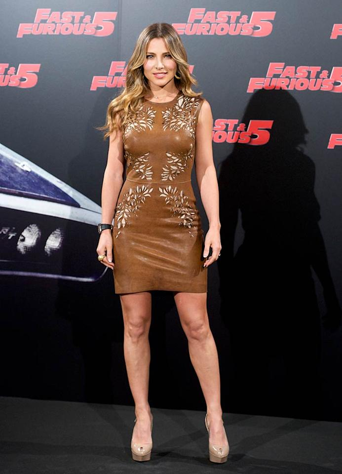 "Meanwhile at a ""Fast Five"" press conference in Madrid, Spain, Spanish actress Elsa Pataky -- who plays a police officer in the awesome action flick -- showed off her gorgeous gams in a luscious, leather Catherine Deane mini and Sergio Rossi slingbacks. Juan Naharro Gimenez/<a href=""http://www.wireimage.com"" target=""new"">WireImage.com</a> - April 26, 2011"