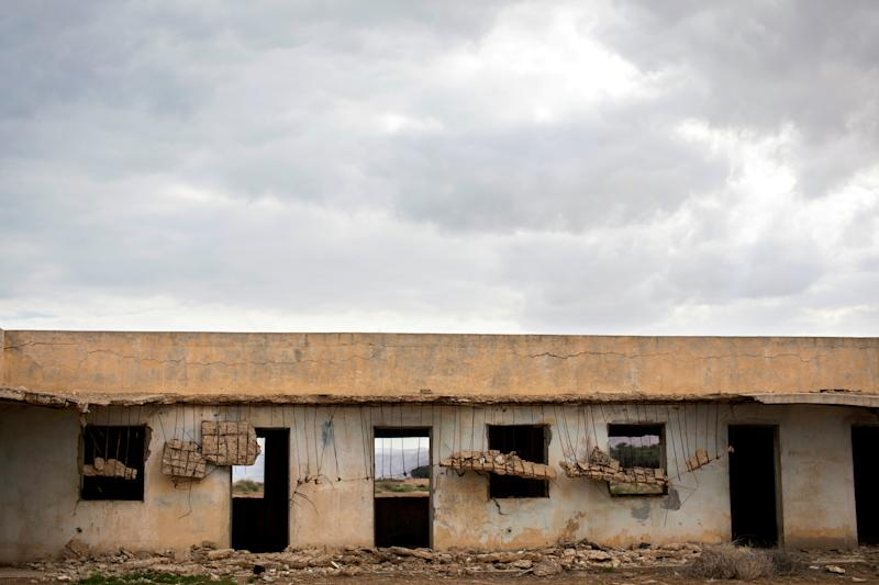 A part of a structure is seen in a former Jordanian military base near the Dead Sea in the Israeli-occupied West Bank, March 26, 2019. The building is a scar in the landscape as it stands deserted following the 1967 Middle East war when Israel captured the area from the Jordanians. (Photo: Ronen Zvulun/Reuters)