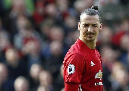 Manchester United's Zlatan Ibrahimovic reacts