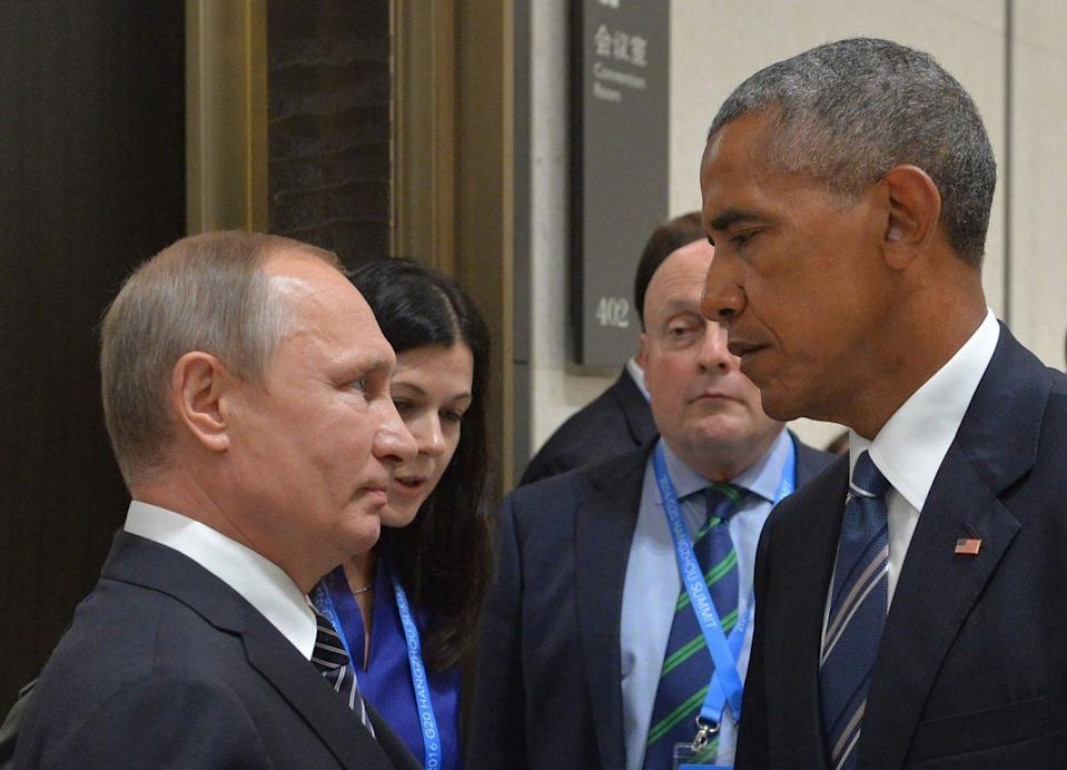 Russian President Vladimir Putin meets with Barack Obama at the G-20 Leaders Summit in Hangzhou, China, in September 2016. (Alexei Druzhinin/AFP/Getty Images)