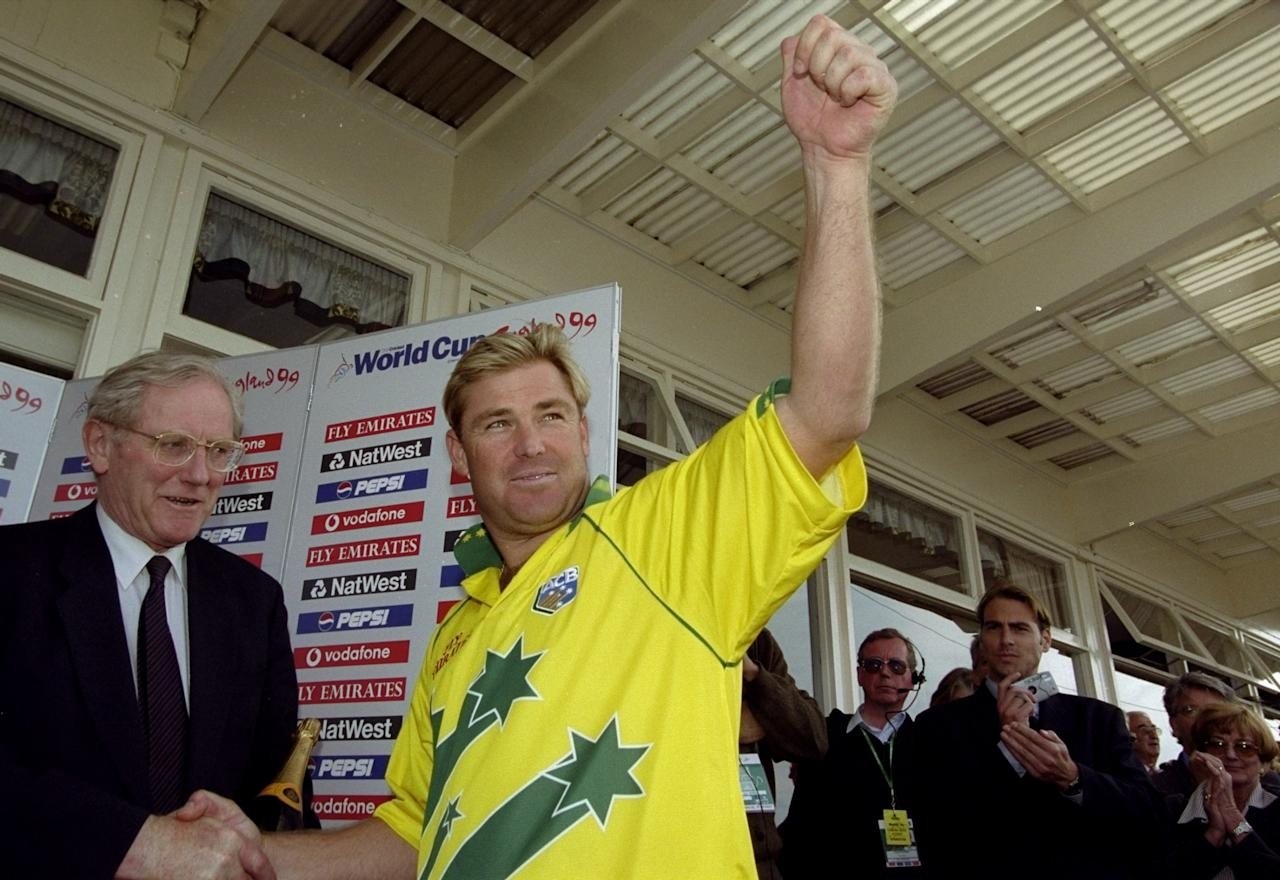 17 Jun 1999:  Shane Warne of Australia is named Man of the Match after taking 4 for 29 in the World Cup semi-final against South Africa at Edgbaston in Birmingham, England. The match finished a tie as Australia went through after finishing higher in theSuper Six table. \ Mandatory Credit: Ross Kinnaird /Allsport