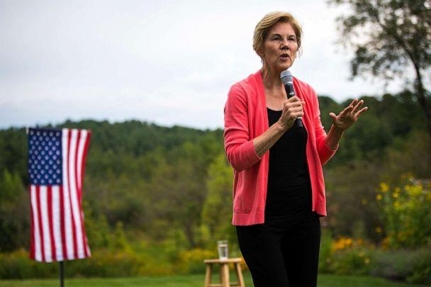 PHOTO: U.S. Senator and presidential candidate Elizabeth Warren speaks at a house party in Hampton Falls, NH on Sep. 2, 2019. (Nic Antaya for The Boston Globe via Getty Images)