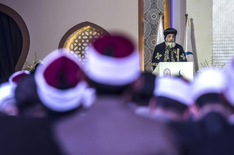 The leader of Egypt's Coptic Church, Pope Tawadros II of Alexandria delivers a speech during a conference titled ''Freedom and citizenship'' hosted by Al-Azhar, one of the leading Sunni Muslim authorities based in Cairo, on February 28, 2017