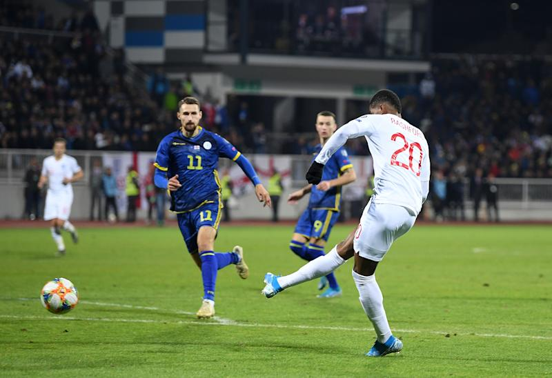 PRISTINA, KOSOVO - NOVEMBER 17: Marcus Rashford of England scores his team's third goal during the UEFA Euro 2020 Qualifier between Kosovo and England at the Pristina City Stadium on November 17, 2019 in Pristina, Kosovo. (Photo by Michael Regan/Getty Images)