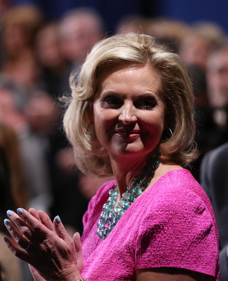 HEMPSTEAD, NY - OCTOBER 16:  Ann Romney, wife of Republican presidential candidate Mitt Romney, waits in her seat prior to the start of the town hall style debate at Hofstra University October 16, 2012 in Hempstead, New York. During the second of three presidential debates, the candidates will field questions from audience members on a wide variety of issues.  (Photo by Spencer Platt/Getty Images)