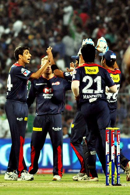 Delhi Daredevils players celebrate fall of wicket during IPL T-20 match between KKR and DD at Eden Gardens in Kolkata on April 3, 2013. (Photo: IANS)