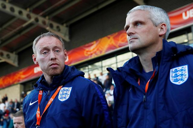 Soccer Football - UEFA European Under-17 Championship - Group A - England v Israel - Proact Stadium, Chesterfield, Britain - May 4, 2018 England manager Steven Cooper (L) before the match Action Images via Reuters/Jason Cairnduff