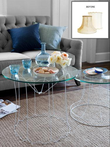 """<div class=""""caption-credit""""> Photo by: Burcu Avsar (tables); Shakirah Tabourn (lampshades</div><div class=""""caption-title"""">Lampshade-Frame Cocktail Tables</div>This project, featured in Juliette Goggin and Stacy Sirk's book <i>Junk Genius</i> ($29.95; Cico), offers a smart way to upcycle cast-off lampshades-usually no more than $10 to $20 apiece at flea markets. <br> <br> <a href=""""http://www.countryliving.com/crafts/projects/home-decor-crafts#slide-3?link=emb&dom=yah_life&src=syn&con=blog_countryliving&mag=clg"""" target="""""""">Learn how to make your own »</a> <br> <b><br> Plus: <br> <a href=""""http://www.countryliving.com/crafts/organization-crafts-0109?link=rel&dom=yah_life&src=syn&con=blog_countryliving&mag=clg"""" target=""""_blank"""">16 Craft Projects to Help Organization »</a> <br> <a href=""""http://www.countryliving.com/homes/decor-ideas/living-room-gallery?link=rel&dom=yah_life&src=syn&con=blog_countryliving&mag=clg"""" target=""""_blank"""">82 Living Rooms You'll Love »</a></b>"""